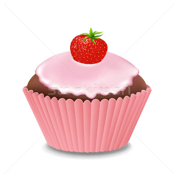 Cupcake With Cream And Strawberry Stock photo © barbaliss