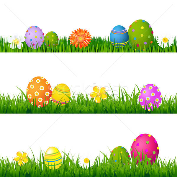 Big Green Grass Set With Flowers And Easter Eggs Stock photo © barbaliss