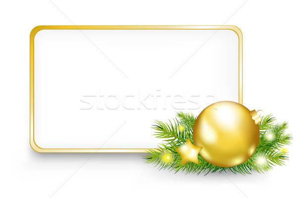 Stockfoto: Christmas · nieuwjaar · frame · geïsoleerd · witte · gelukkig