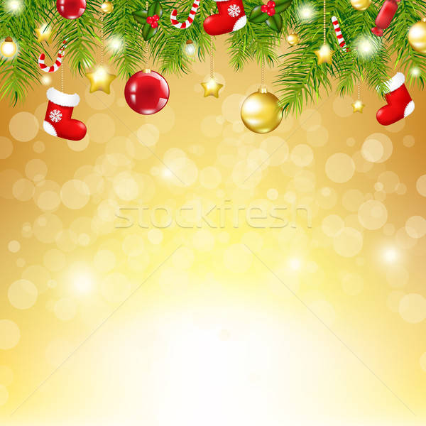 Christmas Gold Background With Bokeh Stock photo © barbaliss
