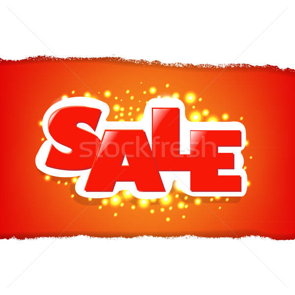 Rip White Paper And Red Sale Background Stock photo © barbaliss
