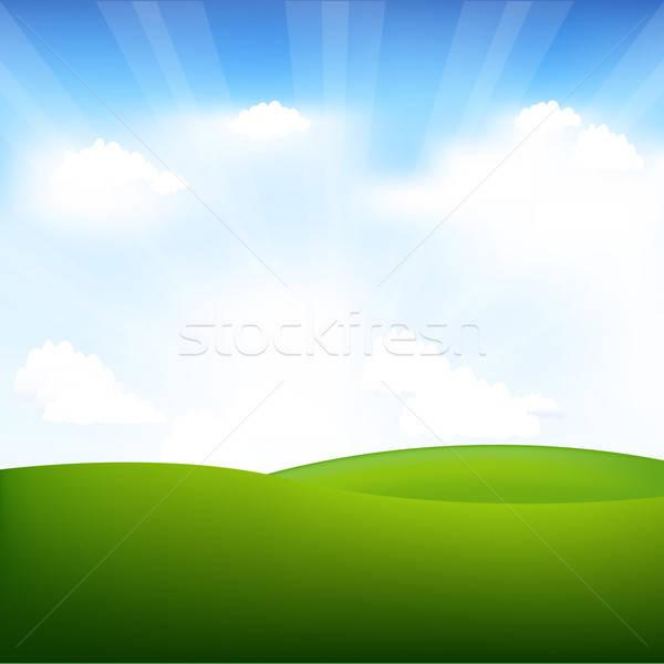 Tájkép égbolt felhők tavasz fű természet Stock fotó © barbaliss
