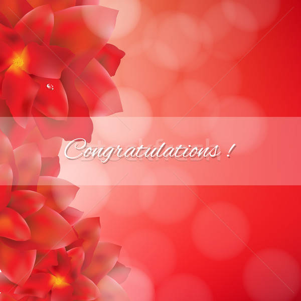 Red Flowers Card With Bokeh Stock photo © barbaliss