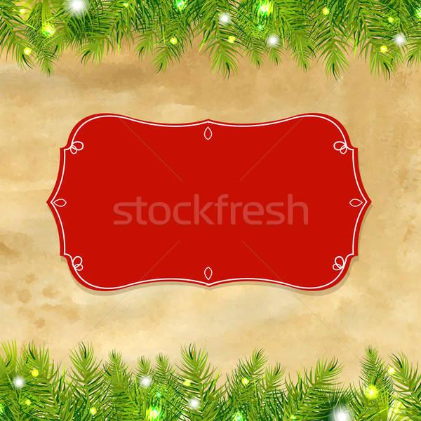 Karácsonyfa keret címke gradiens háló háttér Stock fotó © barbaliss
