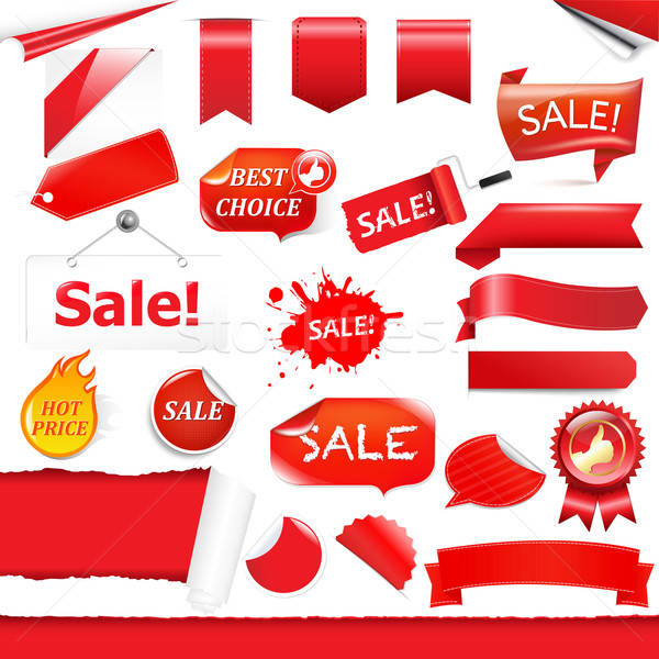 Stock photo: Red Labels And Ribbons Set