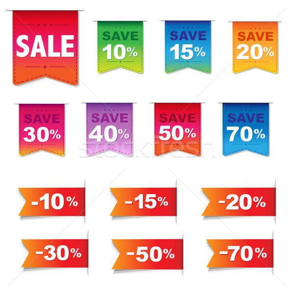 Discount Labels And Ribbons Set Stock photo © barbaliss