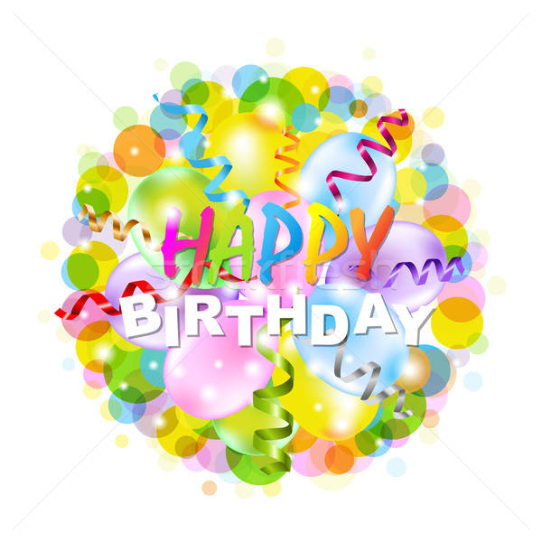 Happy Birthday Poster With Bokeh Stock photo © barbaliss