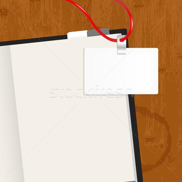 Stockfoto: Houten · tafel · zuivelfabriek · badge · business · papier · textuur