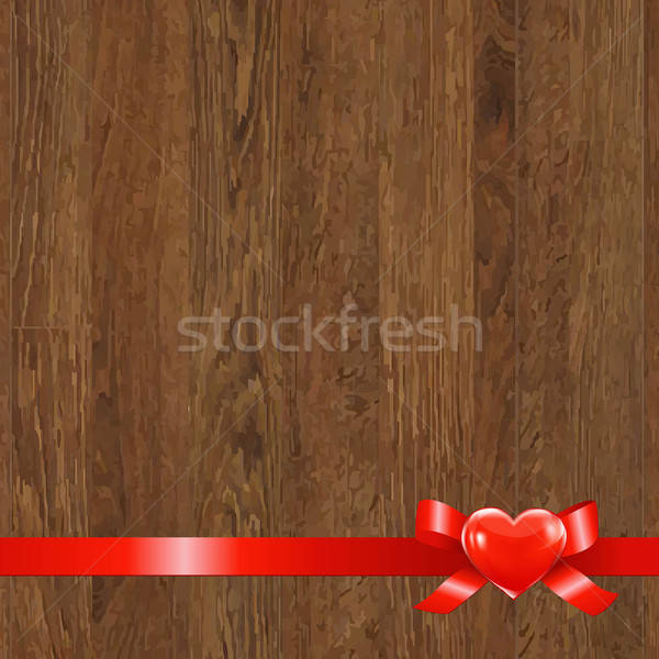 Wooden Panel With Red Ribbon Stock photo © barbaliss