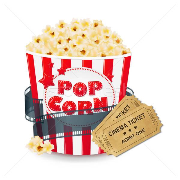 Popcorn In Cardboard Box With Tickets Cinema Stock photo © barbaliss