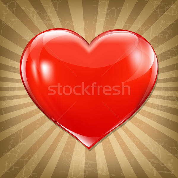 Vintage Poster With Red Heart Stock photo © barbaliss