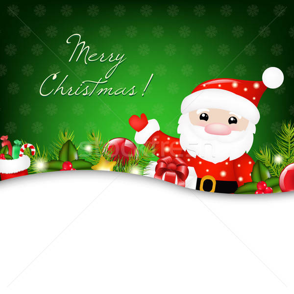 Foto stock: Natal · ilustração · papai · noel · feliz · arte · inverno