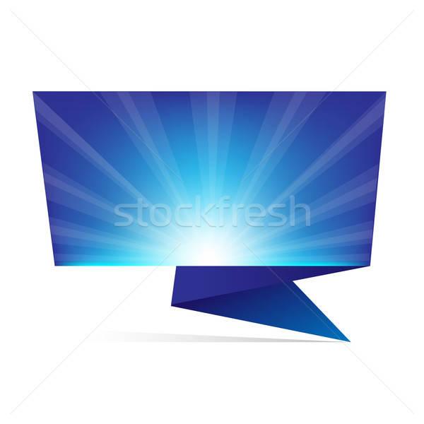 Mavi origami yalıtılmış beyaz soyut dizayn Stok fotoğraf © barbaliss