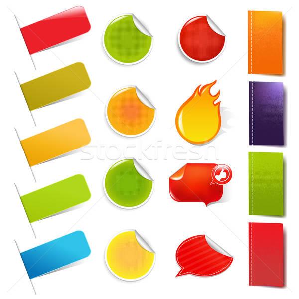 Groß Verkauf Aufkleber Etiketten isoliert weiß Stock foto © barbaliss