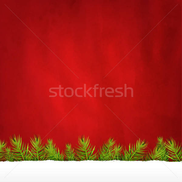 Rip Paper And Retro Red Background And Fir Tree Stock photo © barbaliss