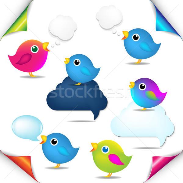 Stock foto: Farbe · Vögel · Set · Ecken · Sprechblase · Gradienten