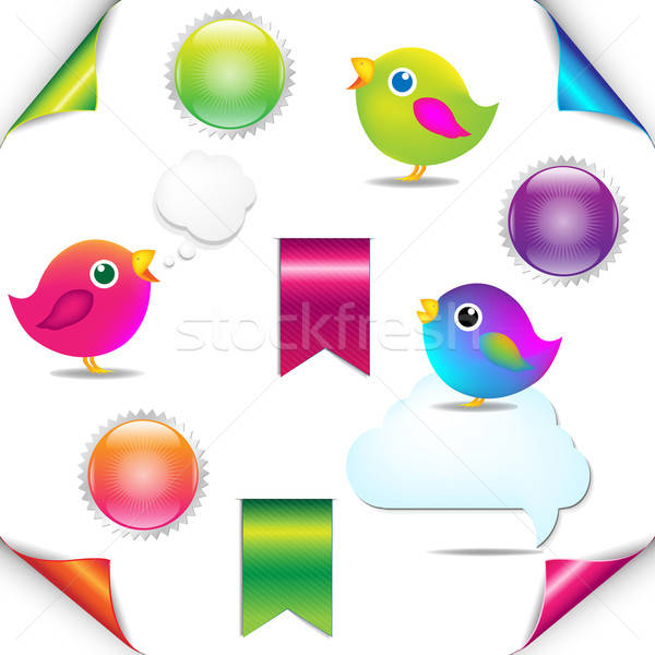 Colorful Birds Set With Ribbon And Speech Bubble Stock photo © barbaliss
