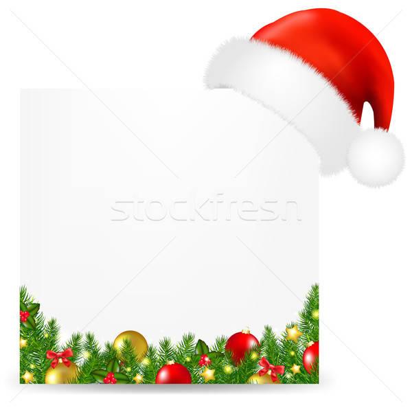 Karácsony kártya mikulás kalap szöveg gradiens Stock fotó © barbaliss