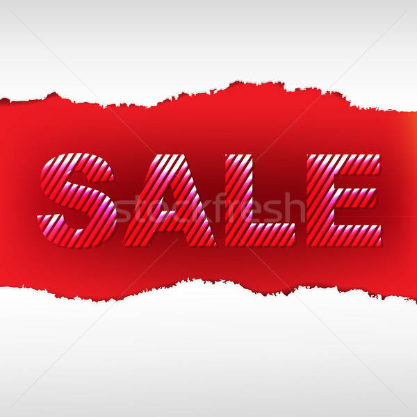 Red Torn Sale Poster Stock photo © barbaliss