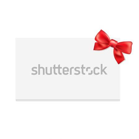 Regalo etiqueta arco aislado blanco rojo Foto stock © barbaliss