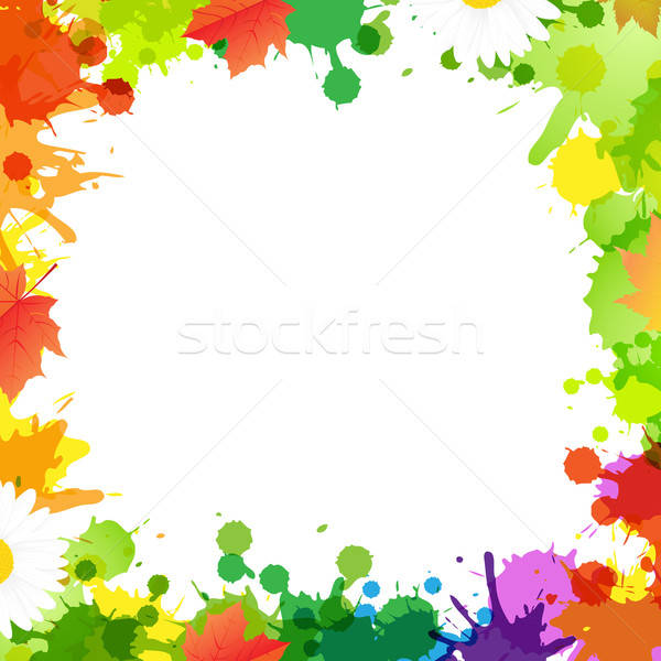 Frame With Blob And Leaves Stock photo © barbaliss