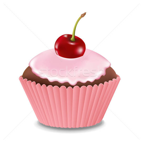 Cupcake With Cream And Cherry Stock photo © barbaliss