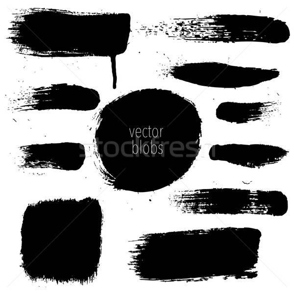 Black Blobs Set Stock photo © barbaliss