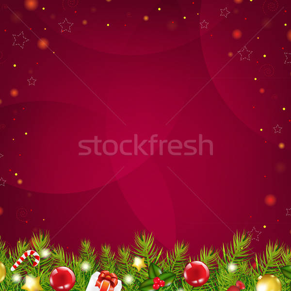 Christmas Dark Red Background With Stars And Fir Tree Stock photo © barbaliss