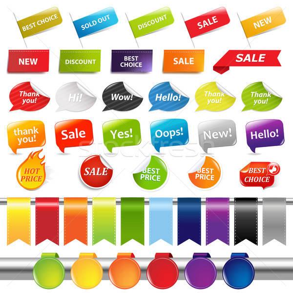 Set vendita etichette isolato bianco Foto d'archivio © barbaliss