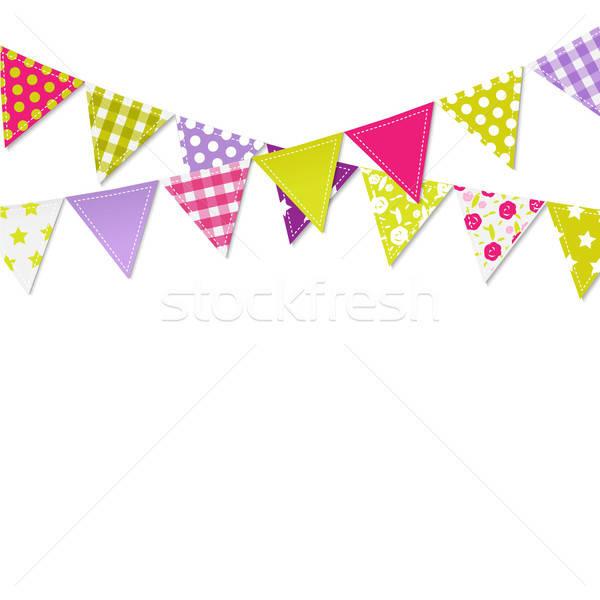 Bandeiras festa criança aniversário verde azul Foto stock © barbaliss