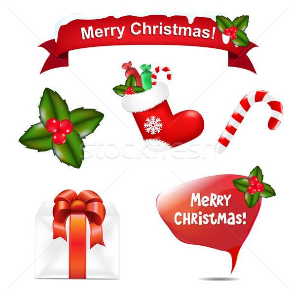Vrolijk christmas iconen tekstballon kind home Stockfoto © barbaliss