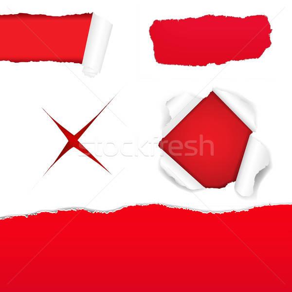 Grand rouge papier déchiré gradient Photo stock © barbaliss