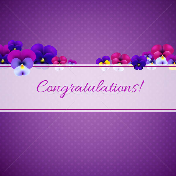 Congratulations Card With Pansies Stock photo © barbaliss