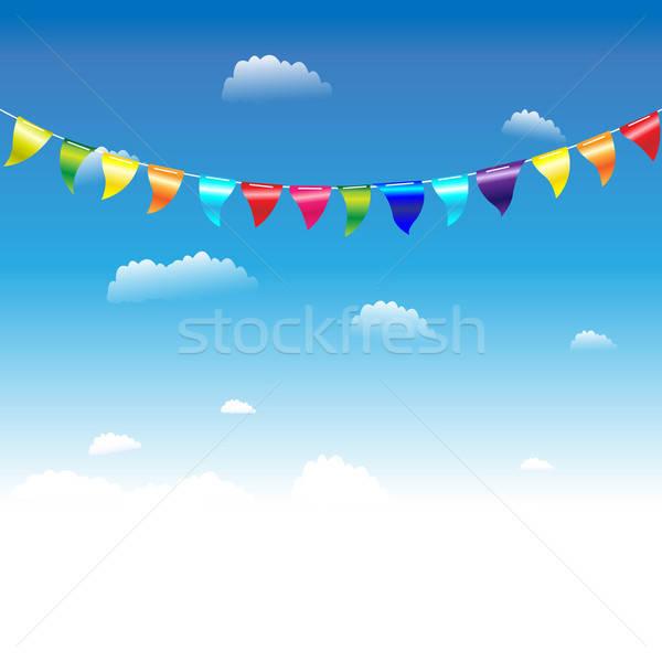 Verjaardag vlaggen hemel wolken gelukkig zomer Stockfoto © barbaliss
