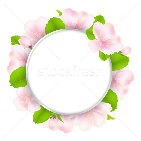 Apple Tree Flowers With Speech Bubble Stock photo © barbaliss