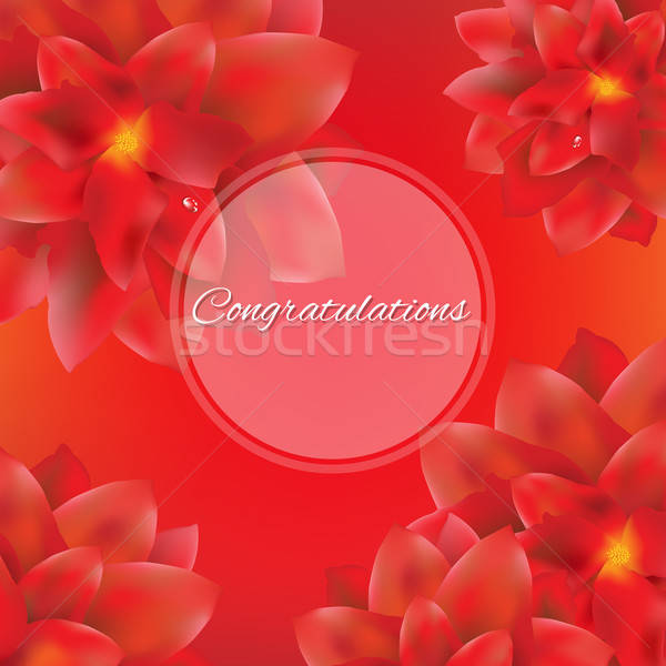 Card With Red Flowers Stock photo © barbaliss