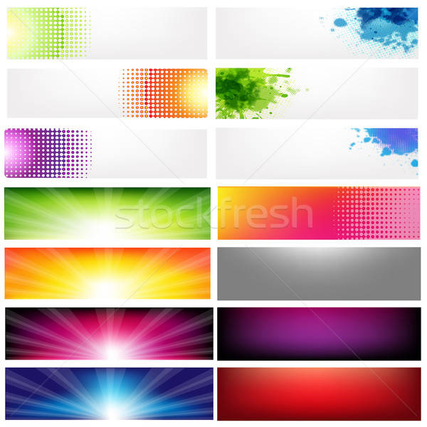 Groß Set abstrakten Banner isoliert weiß Stock foto © barbaliss