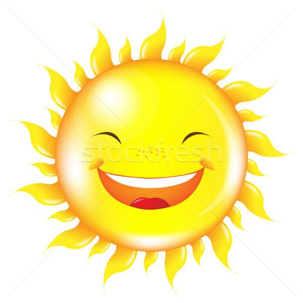 Desenho · animado sol isolado branco cara verão