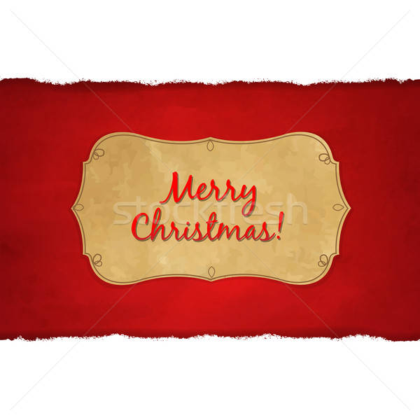 Rip White Paper And Dark Red Christmas Background Stock photo © barbaliss