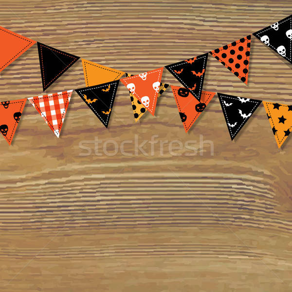 Halloween Bunting Flags With Wood Background Stock photo © barbaliss