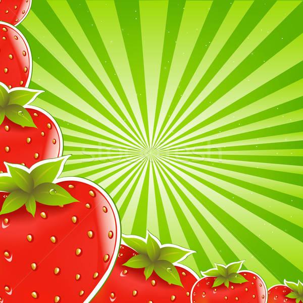 Strawberry And Green Sunburst Stock photo © barbaliss