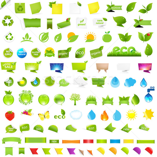 Big Nature And Eco Set With Labels Stock photo © barbaliss