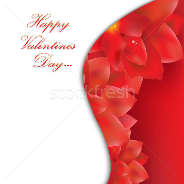 Happy Valentines Day Card With Red Flowers Stock photo © barbaliss