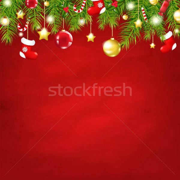 Christmas Red Happy New Year Composition Stock photo © barbaliss