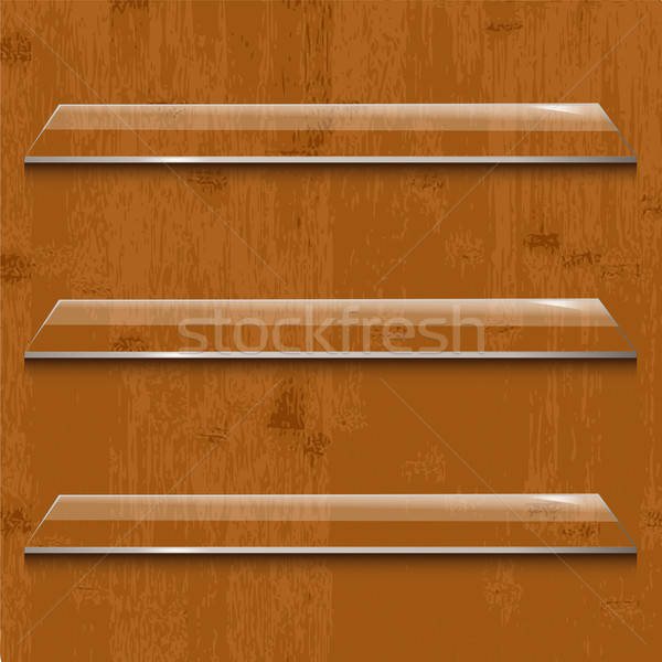 Wood Background With Glass Shelf Stock photo © barbaliss
