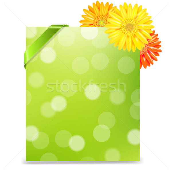 Yellow Gerber And Blank Gift Tag Stock photo © barbaliss
