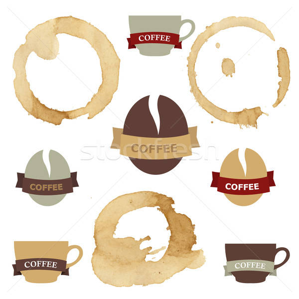 Coffee Stains With Symbols Set Stock photo © barbaliss