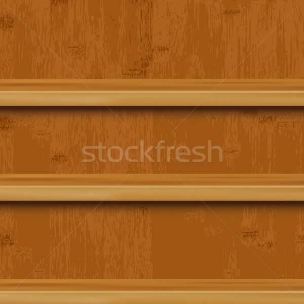 Houten boekenplank hout kantoor licht ontwerp Stockfoto © barbaliss