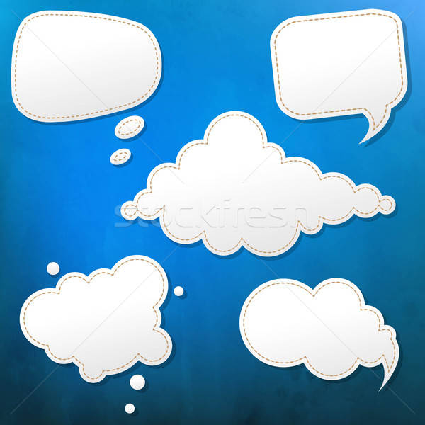 Blue Grunge Texture With Speech Bubble Stock photo © barbaliss