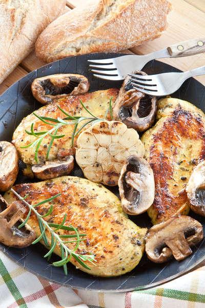Gemarineerd kipfilet voedsel groenten vintage kruiden Stockfoto © BarbaraNeveu